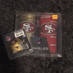 San Francisco 49ers Tumbler Set and helmet